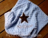 Personalized baby blanket-dusty blue and brown star- lovey blanket