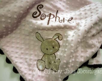 Personalized baby blanket- pink and brown baby bunny- stroller blanket