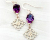 Small Gold Filigree Earrings with Purple Rhinestones Art Nouveau Style Jewelry Gift for Teen Girls