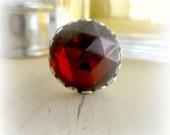 Garnet Red Cabochon Ring January Birthday Birthstone Jewelry Gift for Teen Girl Wiccan Jewelry Garnet Jewelry