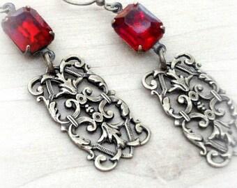 Art Deco Earrings Ruby Red Rhinestone Earrings Vintage Red Glass Earrings Ruby Red Glass Filigree Gatsby Earrings Art Deco Filigree Earrings