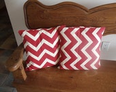 Chevron Pillows Set 2 Handmade Pillows With Forms Red & White Design 12-13 Inches Square Pillow Slip