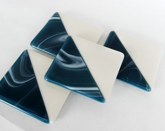 FUSED GLASS COASTERS - Navy Blue Drink Coasters, Under 25, Gift for Hostess, Bar Coasters, Set of Coasters, Blue Coasters, Nautical Coasters