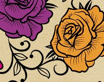 Calavera by David Textiles - Full or Half Yard Tattoo look Roses on Tan/Cream - Purple, Pink, Orange, Yellow, Green, and Blue