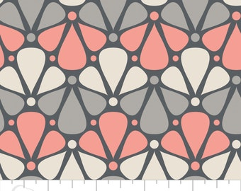 """Zoey from Camelot Fabrics - Full or Half Yard """"Floral in Pink"""" Modern Coral Pink, Gray and Cream Triple Petal"""