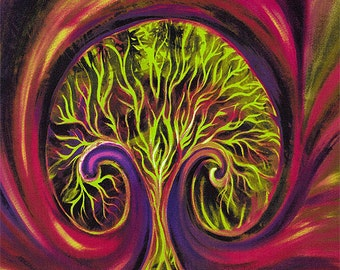 Discovery Tree by Melissa Marie Collins for Frond Design Studios - Panel Hallowed Branches in Green - Modern Tree with Swirling Aura