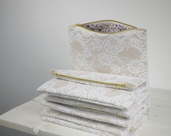 Set of six fold over lace clutches | Set of six bridesmaids purses