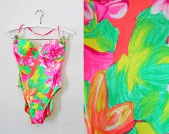 Vintage Bathing Suit | Neon Floral | One Piece Swimsuit