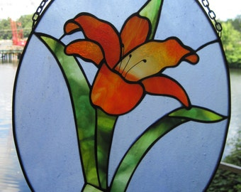 Stained Glass Orange Day Lily Hanging Panel