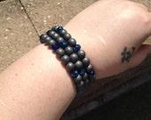 Hematite and Chinarovski Bracelet - memory wire - blue