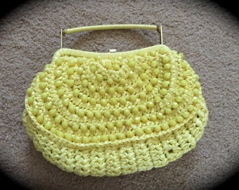 Vintage Marcus Brothers Yellow Beaded Purse Handbag