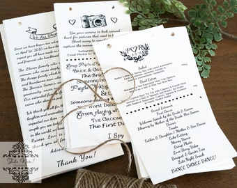 Ceremony or Reception Programs (3 Pages) - Set of 100
