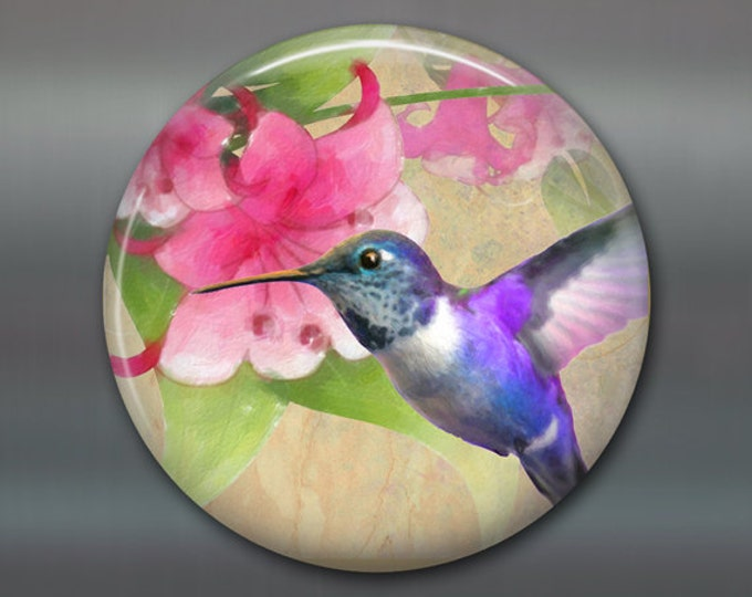 hummingbird gifts for moms - hostess gifts for gardeners - bird decor for kitchen - 3.5 fridge magnet MA-1923