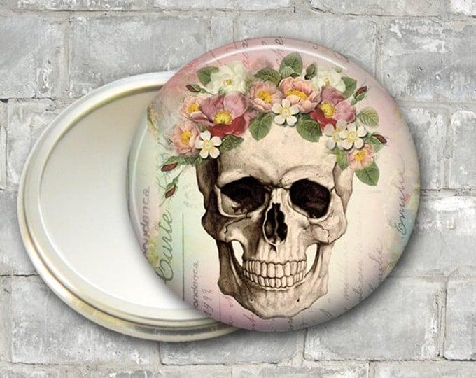 skull pocket mirror, day of the dead compact, mirror for purse, Dia de los Muertos hand mirror MIR-956