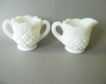 Vintage Westmoreland Milk Glass Sugar Creamer set, white, small