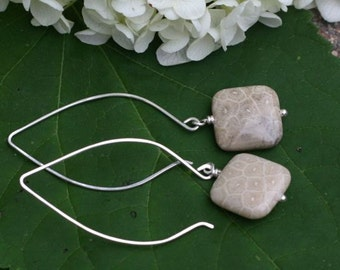 Long Sterling Silver Hoop Ear Wire Earrings with Square Fossil Coral