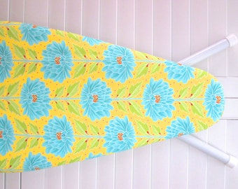 New - Ironing Board Cover in Standard Size - Wall Flowers in Turquoise Blue on Buttercup Yellow background