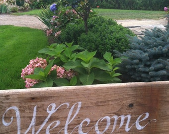 Hand Painted Rustic Driftwood Welcome Sign,Summer Out Door Wall Decor, Wedding Decoration, Coastal Cottage Beach Decor, Home And Living