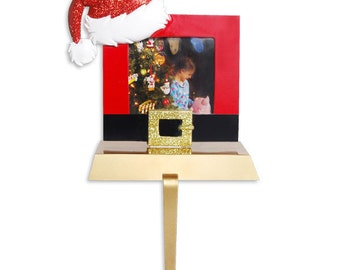 Personalized Picture Frame Stocking holder- Great Gift Grandkids, Baby's first Christmas, Newlyweds, Mother Father, Teacher, Nurse