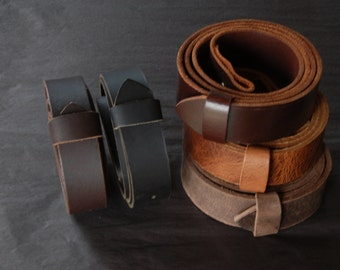 """Leather Belt with SNAPS for Jeans or Suits Custom Cut Oiled Buffalo Leather Belts Five Colours w/snaps 1.5"""" and 1.25"""" Wide Made to Measure"""