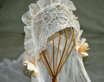 Antique Vintage Wedding Accessory 1900s 1920s Bridal Veil Cotton Net Lace headband Satin Bows Downton Abbey Style