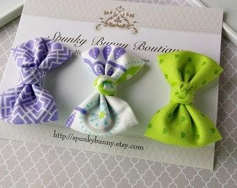 3 Purple and Green Fabric Hair Bow Set, Little Girl Hair Barrette, Modern Print Hair Bow, Heart Hair Bow, Baby Toddler Hair Bow, Purple Bow