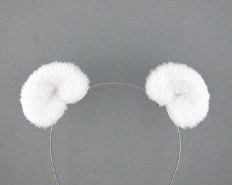 Polar Bear Ears Hair Clips Arctic Fluffy Plush Bear Costume Ears