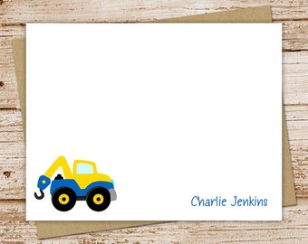kids stationery set . tow truck stationary . boys personalized notecards . flat note cards . transportation . set of 10
