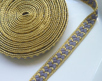 Moroccan trim, golden and dark gray art silk , woven 5 metres