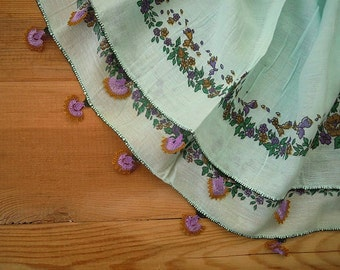 cotton scarf, needle lace edging, pale green, purple, turkish oya