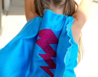 Sparkle Big Bolt Cape - Ships Fast - Childs Lightning Bolt SUPERHERO CAPE - Halloween Costume - Superhero Birthday Party - Superkid Capes