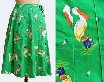 70s Pelican WRAP SKIRT / 1970s Green Boat Bird Print, xs s