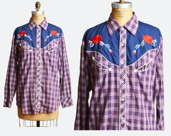 Vintage 70s Plaid Western Pearl Snap SHIRT / Rose Embroidered Top, s m