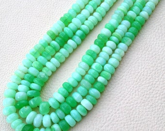 New Arrival,Grapefruit Peruvian Green Opal Smooth Rondells,9-10mm Size,Full 15 Inch Long Strand Rare Colour.