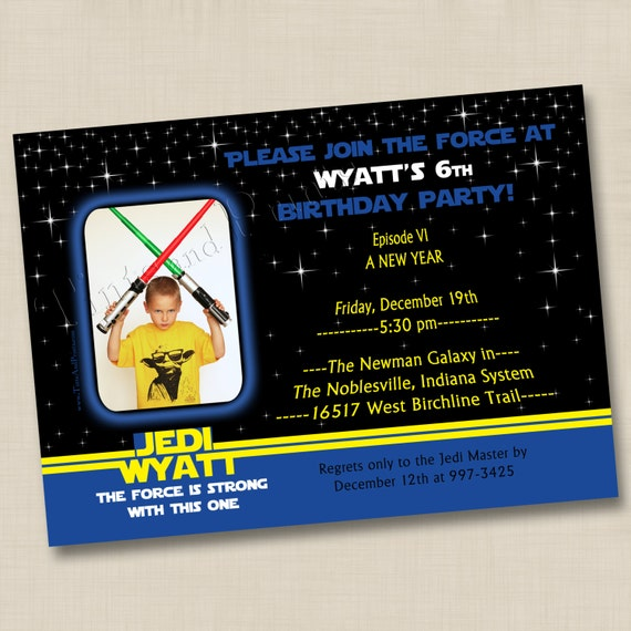 Young Jedi Inspired Custom Birthday Party Photo Invitation Design- any age