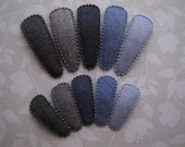 Blue Jean Baby . snap clip set . girls hair accessory . choose your clip size