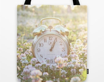 Im Late, Tote Bag, Shoppers Tote, Alice in Wonderland, Fine Art Photography, Photo, Photograph, Whimsical, Time, Clock, Gold, fairy tale,