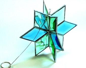 3D Beveled Glass Twirler in Blue & Green