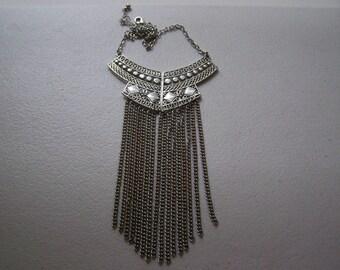 Antiqued Silver Tribal Native Fringed Bib Statement Necklace
