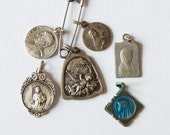 vintage medals 6 small religious pendant/ medals
