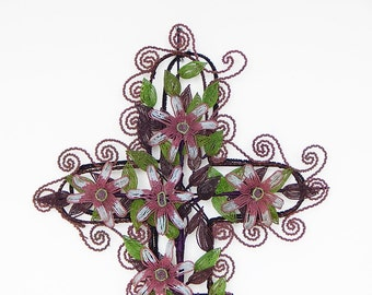 LARGE french beadwork cross wall hanging floral decoration