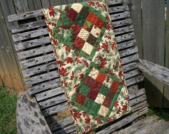 Fall Autumn Quilted Table Runner Turning Leaves Quiltsy Handmade FREE U.S. Shipping