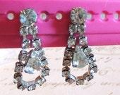 Vintage Rhinestone Earrings Pierced Wedding Bridal Vintage Jewelry