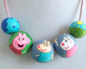 Peppa Pig Hand-Painted Necklace on suede for kids, wooden beads