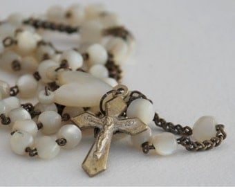 Mother of pearl Rosary – French antique Lourdes catholique rosary gift idea – 1920