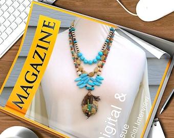 Statement Turquoise Crazy Agate Three strand Copper  semi precious necklace