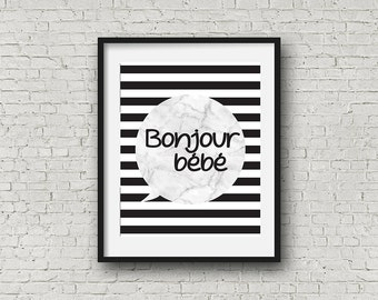 Nursery Wall Art, Bonjour Bébé, Black,White and Marble printable baby room decor-Boy or Girl
