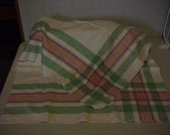 Linen Tablecloth Red Green Yellow Border