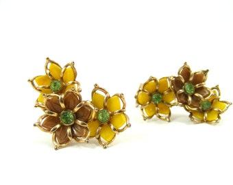 Flower Clip On Earrings, Yellow, Brown, and Green Rhinestone, Plastic Trio of Flowers