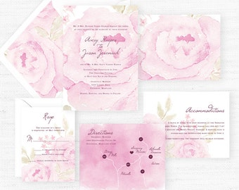 The Avery Collection | Sample Wedding Invitation | Hand-Painted Watercolor Wedding Invitations
